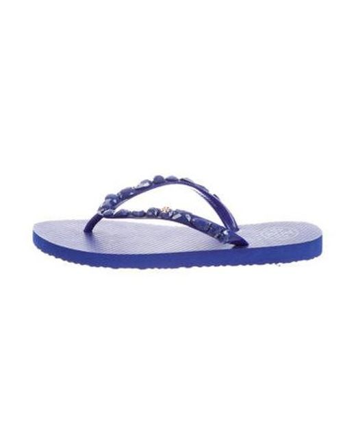 131a77b8a Tory Burch - Metallic Embellished Thong Sandals W  Tags Silver - Lyst ...