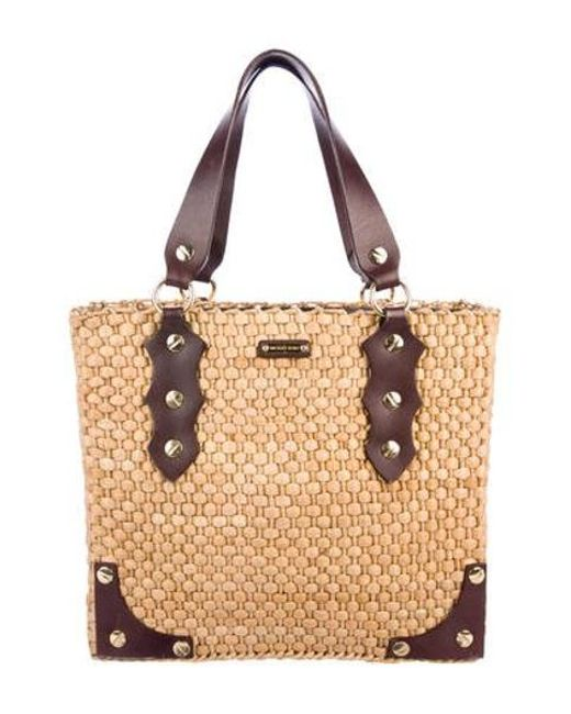 387d65f838 Michael Kors - Metallic Leather-trimmed Santorini Tote Natural - Lyst ...