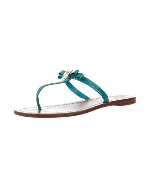 c52f71b7c34fcb ... Tory Burch - Blue Leather Thong Sandals - Lyst ...