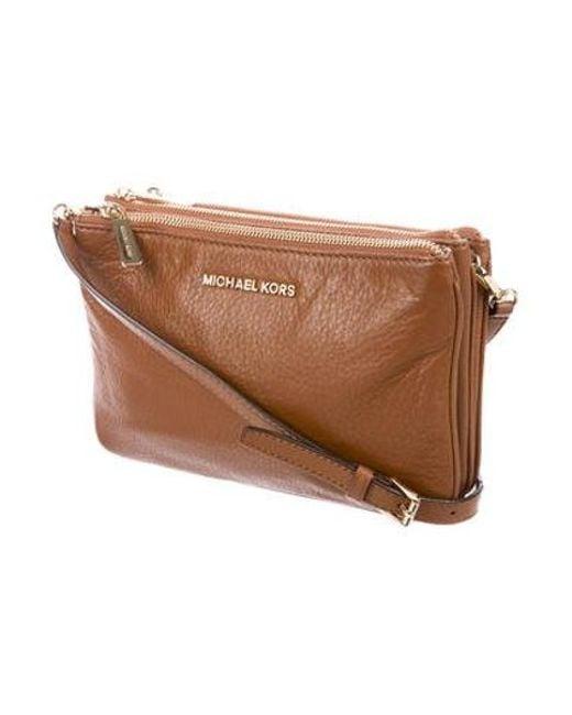 7b2b6ee38cfe ... MICHAEL Michael Kors - Metallic Michael Kors Leather Bedford Crossbody  Bag Brown - Lyst ...