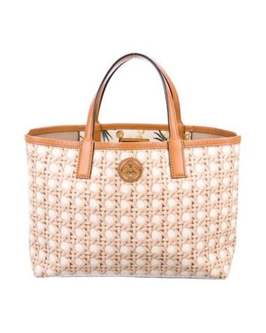 59e01d37e2c1 Tory Burch - Metallic Printed Leather Satchel Brown - Lyst ...