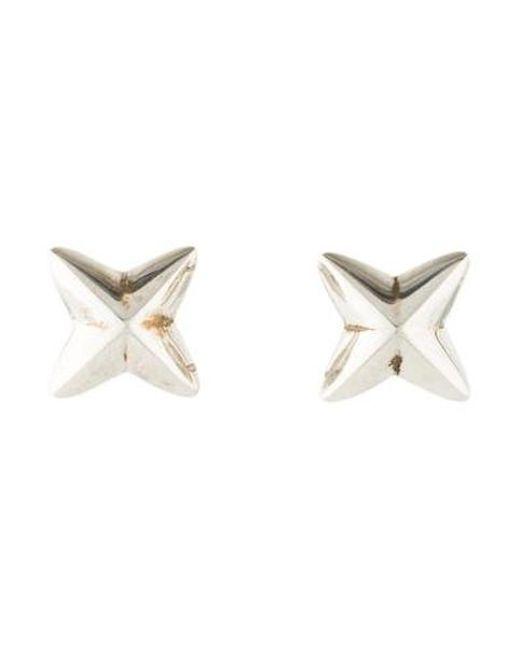 Tiffany Co Metallic Sculptural X Stud Earrings Silver