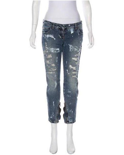 69d5e2db Balmain - Blue Low-rise Skinny Jeans - Lyst ...