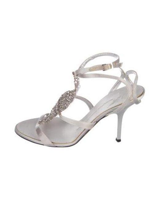 e081dca7162e Giuseppe Zanotti - Gray Embellished Satin Sandals Grey - Lyst ...