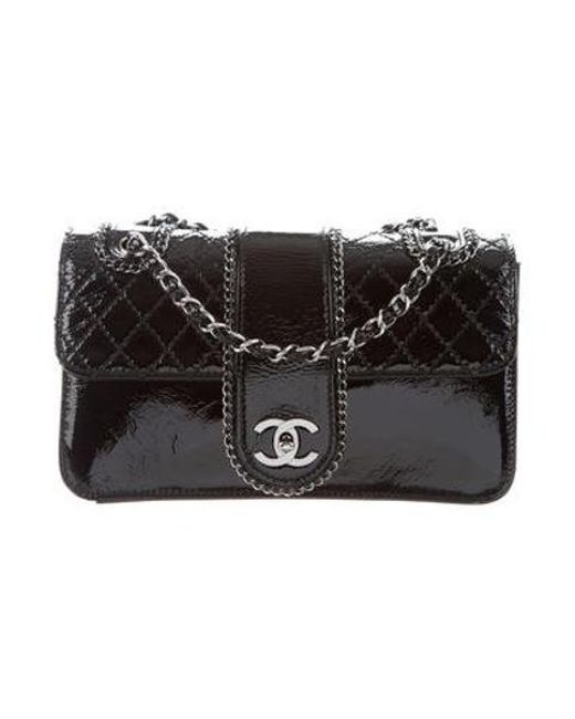 091dc2da60bb Chanel - Metallic Patent Medium Madison Flap Bag Black - Lyst ...