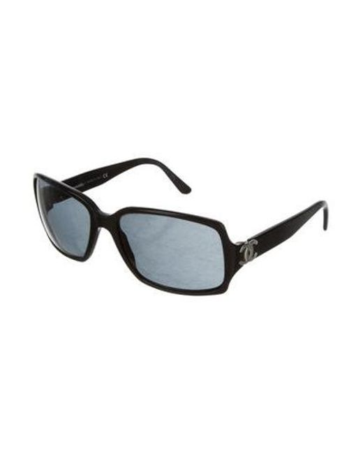 b72855c685d ... Chanel - Metallic Rectangle Cc Sunglasses Black - Lyst ...