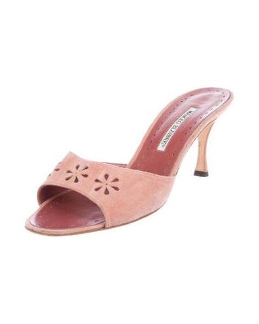 cf14bebfb945 ... Manolo Blahnik - Pink Suede Slide Sandals - Lyst ...