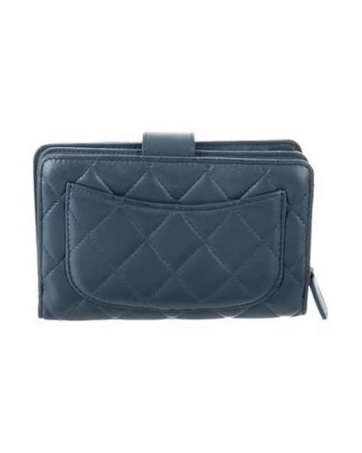 b0454aaa10fc Chanel - Metallic Quilted Compact Wallet Blue - Lyst ...