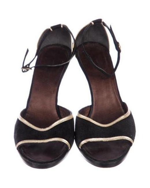 5fd33a788eeffa ... CoSTUME NATIONAL - Metallic Suede Ankle Strap Sandals Black - Lyst ...