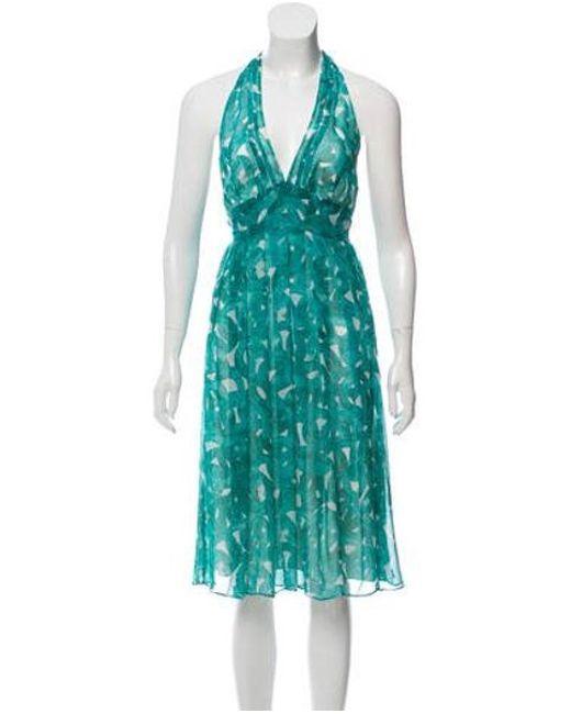 8f575de0ba Diane von Furstenberg - Blue Silk Halter Dress Turquoise - Lyst ...