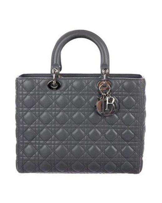 1ec370271197 Dior - Metallic Large Lady Bag Grey - Lyst ...