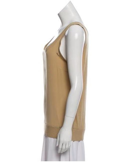 67e50f291e70c ... MICHAEL Michael Kors - Natural Michael Kors Sleeveless Silk Top Khaki -  Lyst ...