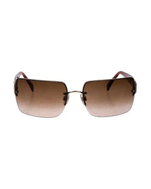 63c8fe5a694e Chanel - Metallic Cc Rimless Sunglasses Brown - Lyst ...