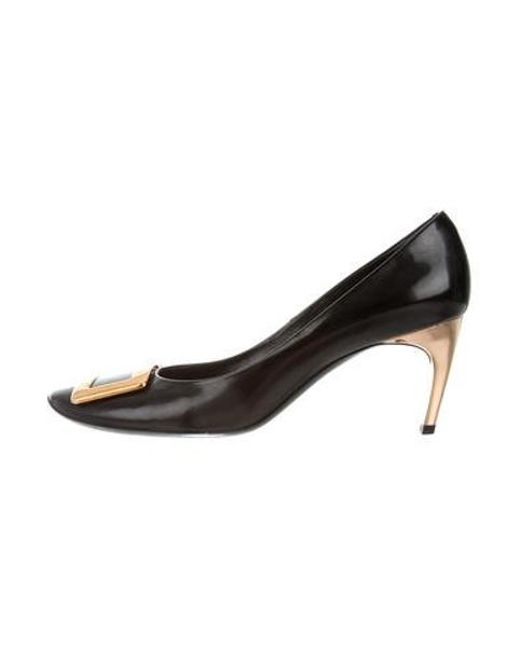 37f0d5fe88a Roger Vivier - Metallic Leather Buckle Pumps Black - Lyst ...