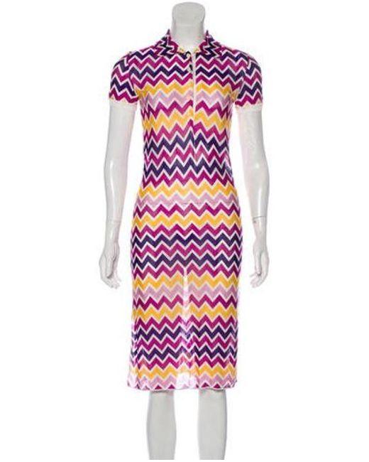 c02bf63cb3 Missoni Sport - Midi Knit Dress Multicolor - Lyst ...