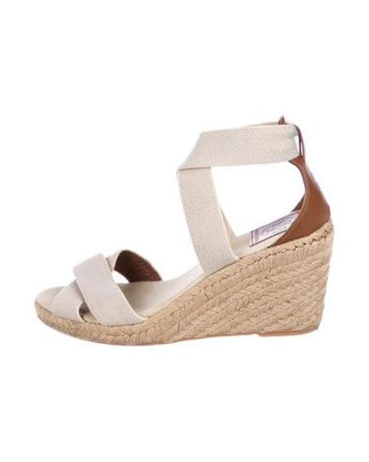 d591b771b49 Tory Burch - Natural Crossover Espadrille Wedges Tan - Lyst ...