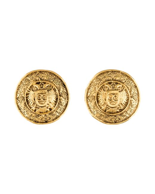 Chanel | Metallic Large Cc Medallion Earrings Gold | Lyst
