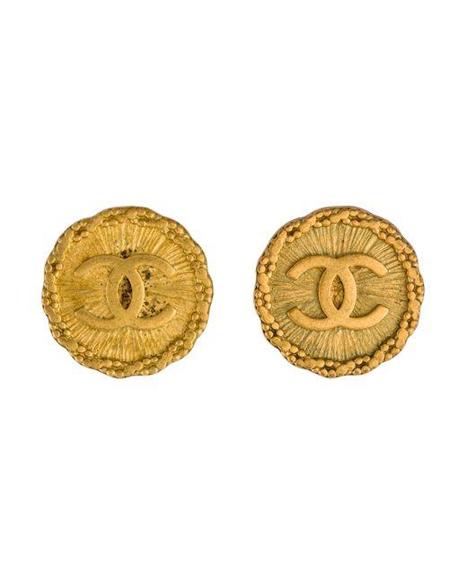 Chanel | Metallic Cc Medallion Earrings Gold | Lyst