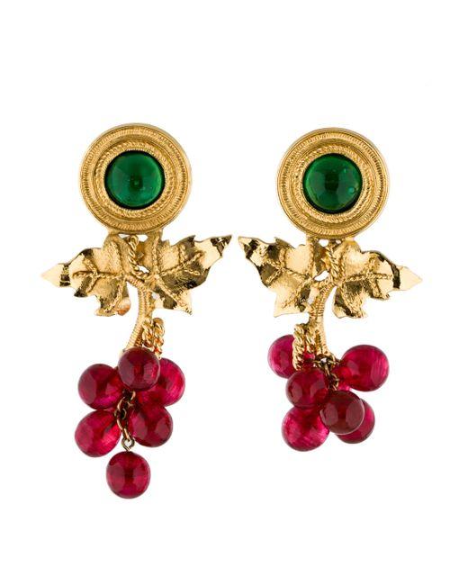 Chanel   Metallic Gripoix Grapevine Earrings Gold   Lyst