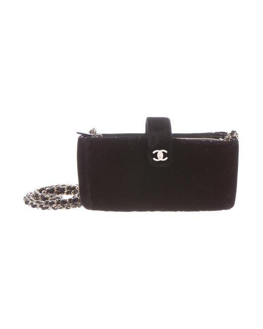 Chanel | Metallic 2015 Quilted Velvet Phone Bag Black | Lyst
