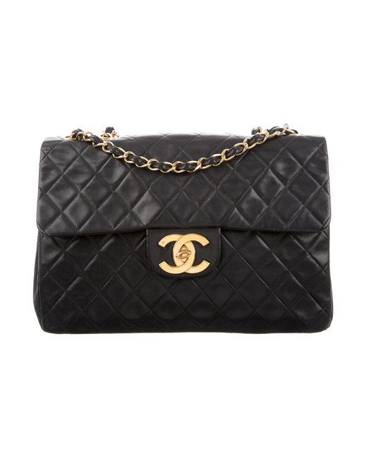 Chanel | Metallic Classic Maxi Single Flap Bag Black | Lyst