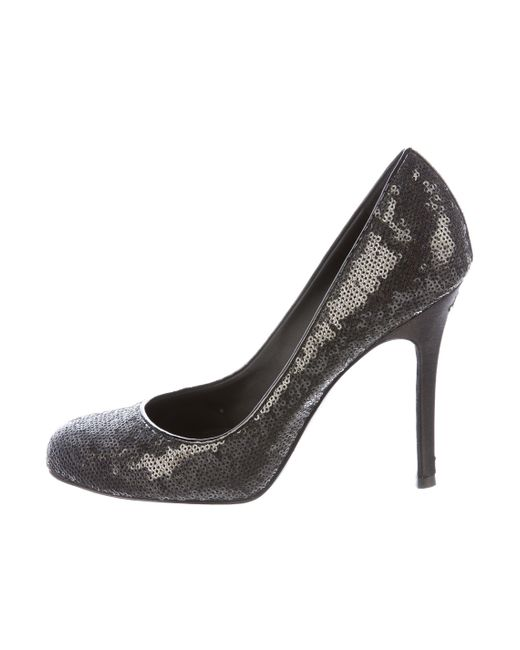 Chanel | Metallic Sequined Round-toe Pumps Black | Lyst