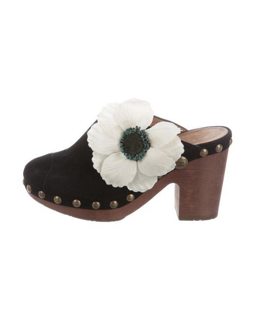 Chanel | Metallic Floral Suede Clogs Black | Lyst