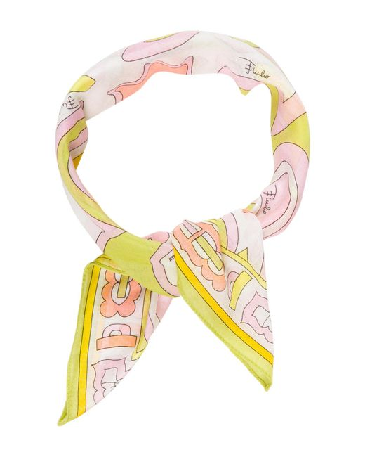 Emilio Pucci | Green Abstract Printed Scarf Lime | Lyst