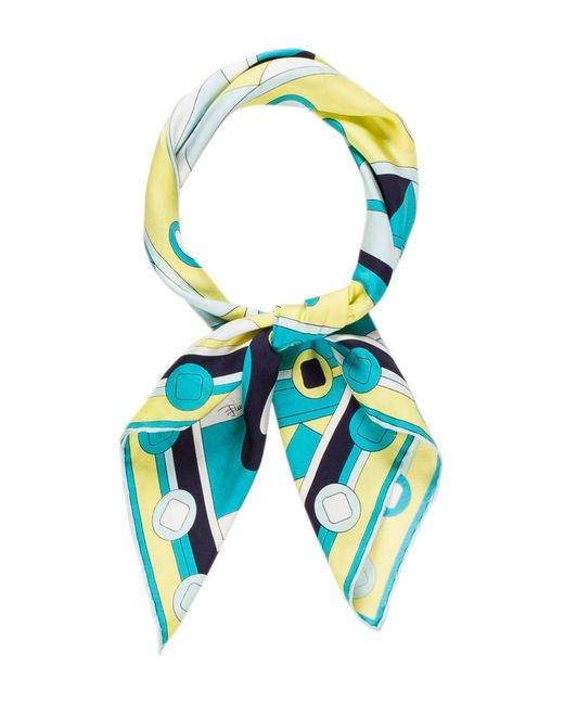 Emilio Pucci   Blue Abstract Printed Scarf Turquoise   Lyst