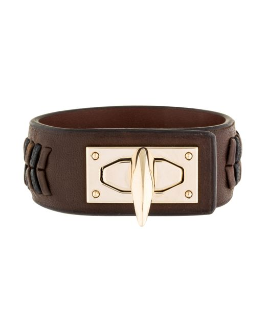Givenchy | Metallic Woven Leather Shark Tooth Cuff Gold | Lyst