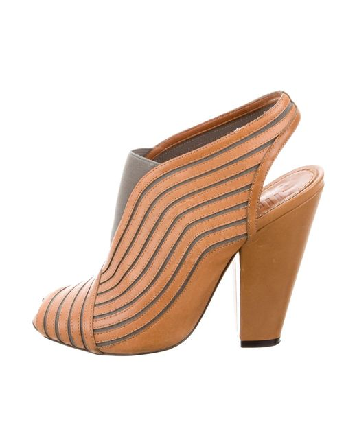 Givenchy | Gray Peep-toe Slingback Booties Cognac | Lyst