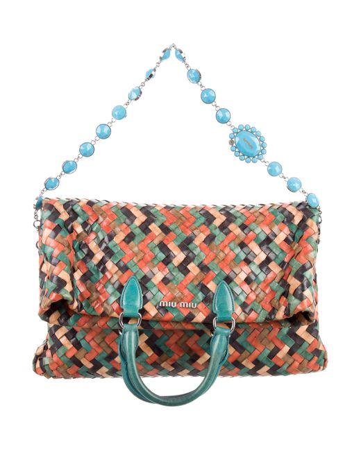 Miu Miu | Metallic Miu Vernice Patch Shopping Bag Multicolor | Lyst