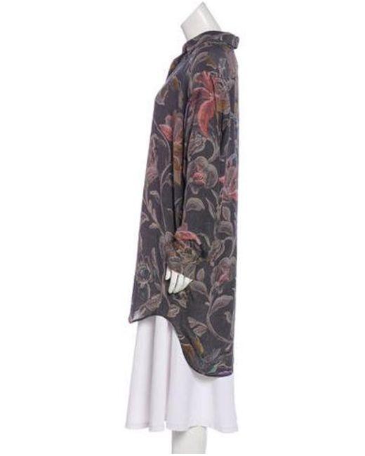 61061858 ... Dries Van Noten - Gray Silk Floral Print Button-up Grey - Lyst ...