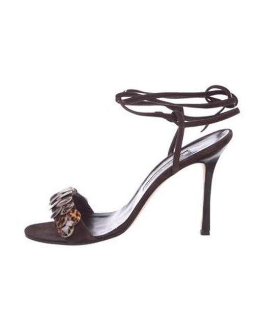 5895be02fbe7 Manolo Blahnik - Brown Suede Embellished Sandals - Lyst ...
