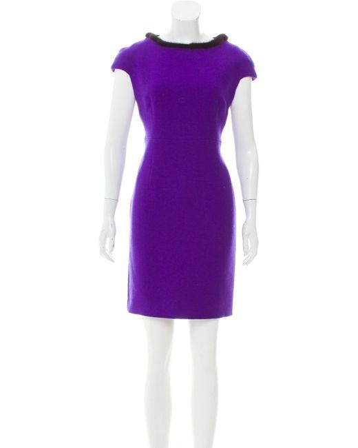 Dior - Purple Fur-trimmed Wool Dress Violet - Lyst