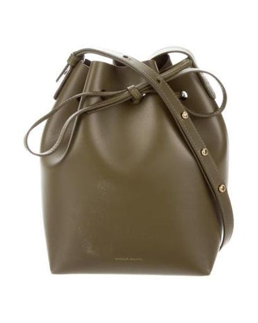 dceb4e66bb068 Mansur Gavriel - Metallic Leather Bucket Bag Olive - Lyst ...