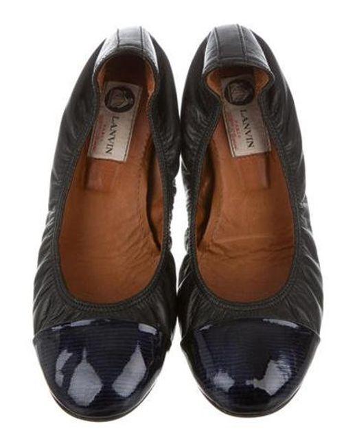 4e7d9ae6e58 ... Lanvin - Black Leather Cap-toe Ballet Flats - Lyst ...