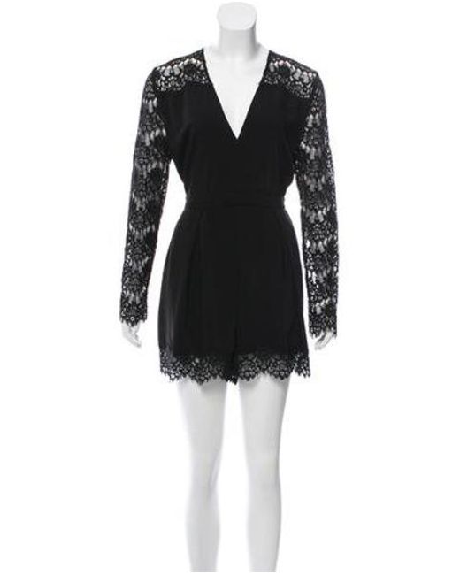 3e2597853f4 Zimmermann - Black Lace Accented Evening Romper - Lyst ...