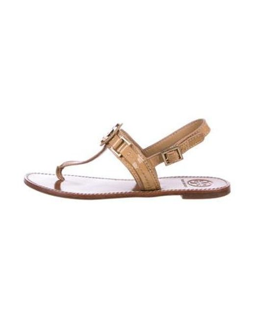 25acb0d6b91 Tory Burch - Natural Patent Leather Thong Sandals Tan - Lyst ...