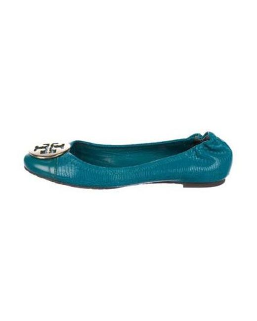6a03bfb53 Tory Burch - Metallic Reva Embossed Leather Flats Blue - Lyst ...