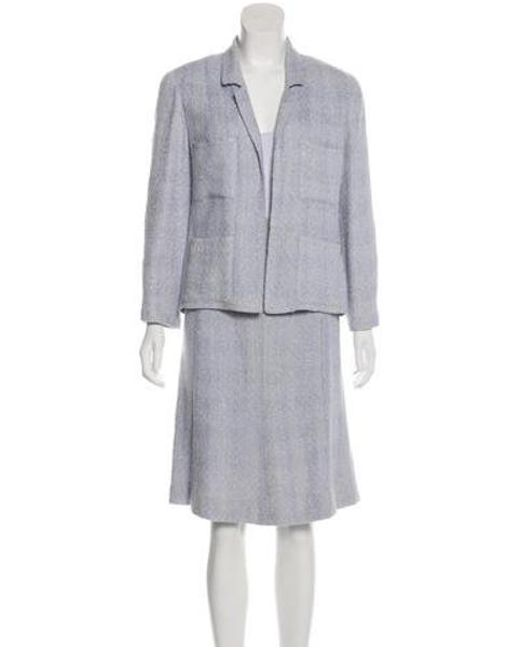 Chanel - Metallic Tweed Skirt Suit Blue - Lyst