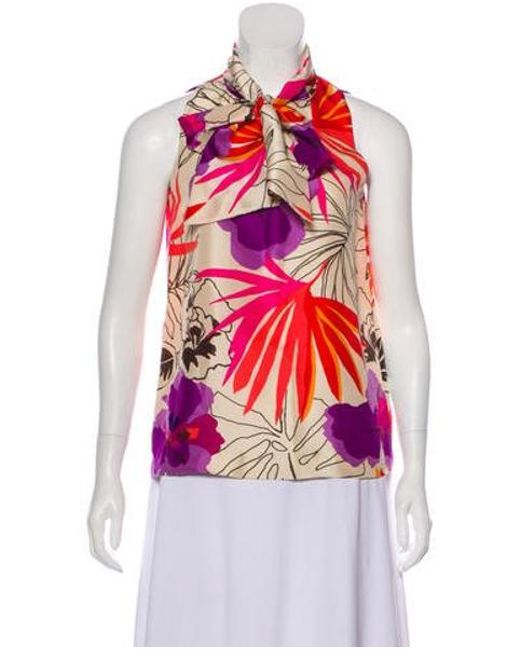 297217874be Kate Spade - Pink Silk Floral Top - Lyst ...