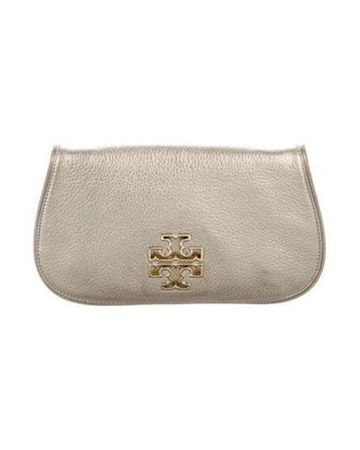 1897df0a825 Tory Burch - Metallic Leather Amanda Clutch - Lyst ...
