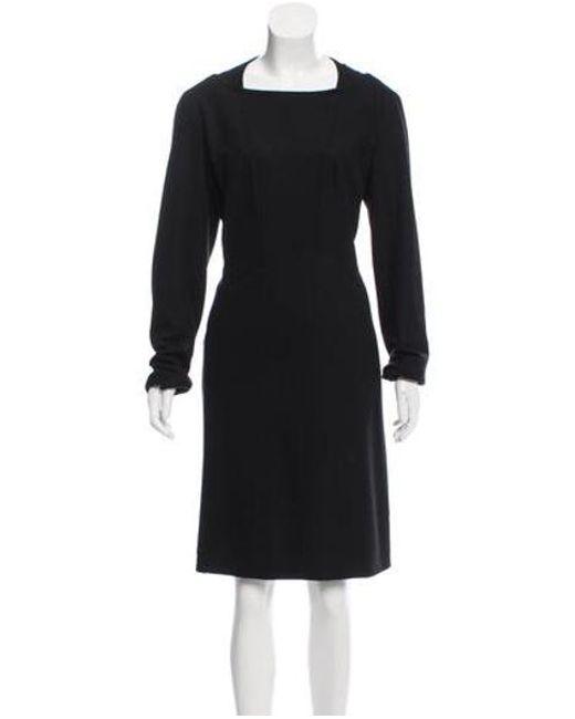 Chanel - Black Wool Knee-length Dress - Lyst