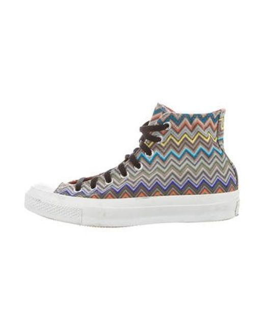 573bb8421f6355 Missoni - Metallic All Star Canvas High-top Sneakers Grey for Men - Lyst ...