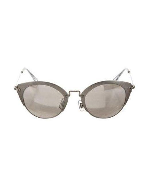 c0348ca3e Miu Miu - Metallic Miu Round Mirror Sunglasses Silver - Lyst ...