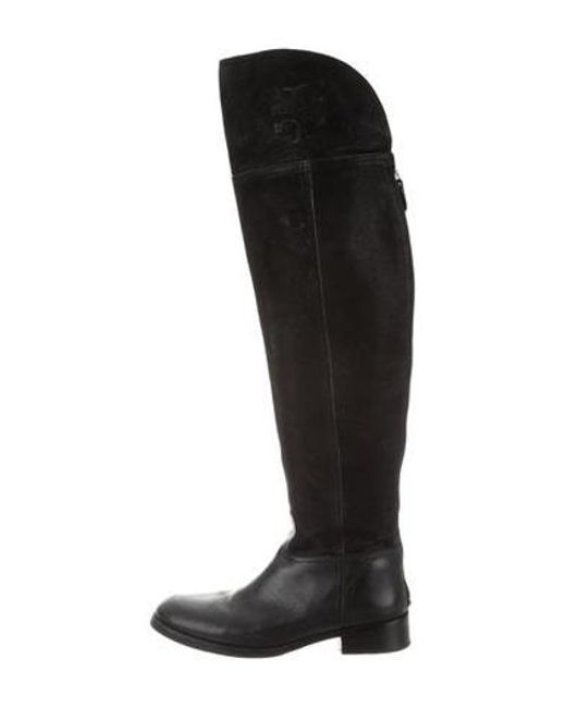 0eb725f1e Tory Burch - Black Over-the-knee Round-toe Boots - Lyst ...