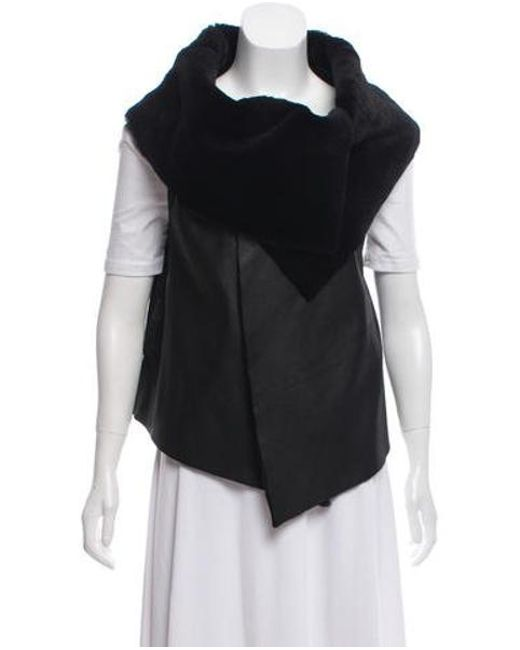 Elizabeth and James - Black Leather Silk-accented Vest - Lyst