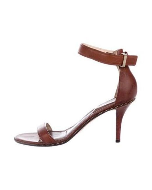 71dd8cb68e62 Givenchy - Brown Leather Ankle Strap Sandals - Lyst ...