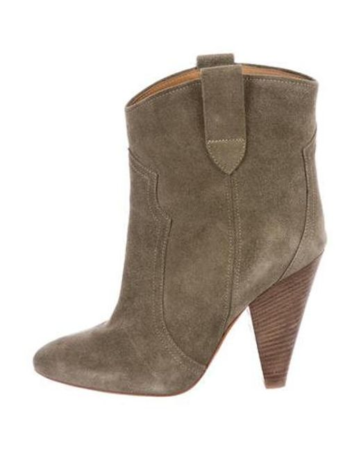 1943eb05422 Étoile Isabel Marant - Green Suede Pointed-toe Ankle Boots Olive - Lyst ...